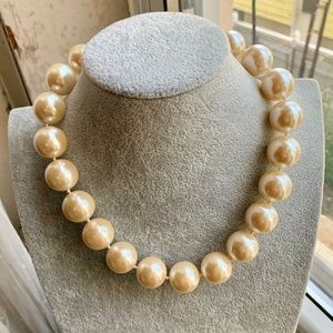 Older Champagne Pearls Chunky Knotted Faux Pearls